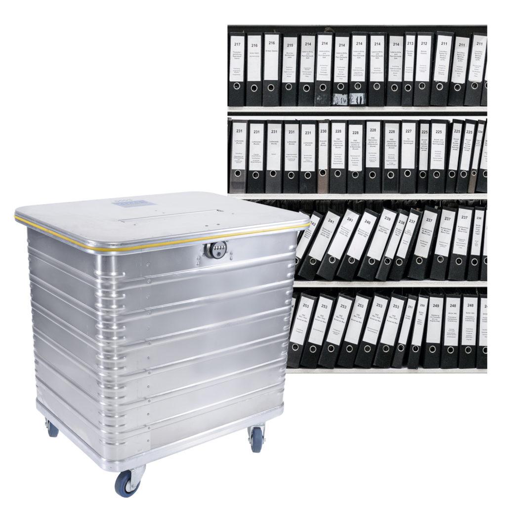Akten und sicherer Container für die Entsorgung